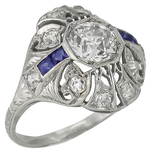 GIA Certified 0.78ct Old European Diamond 0.30ct Round Cut Diamond Sapphire Platinum Engagement Ring