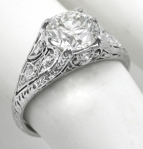 Antique GIA Certified 1.52ct Diamond Platinum Engagement Ring