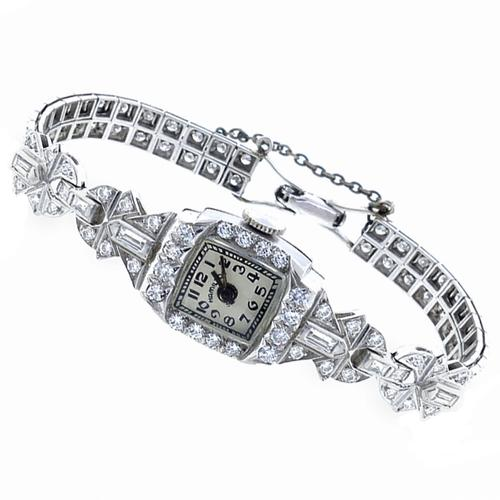 Antique  4.00ct  Round & Baguette Cut Diamond Platinum Hamilton Watch