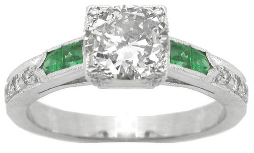Art Deco Style  0.91ct Diamond  Emerald  18k White Gold Engagement Ring