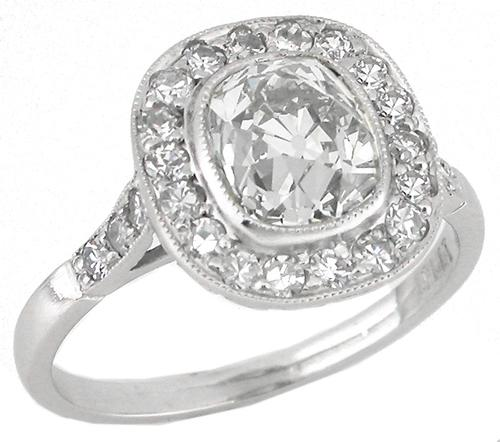 Art Deco Style 1.61ct Old Mine Cushion Cut and 0.90ct Round Cut  Diamond Platinum Engagement Ring