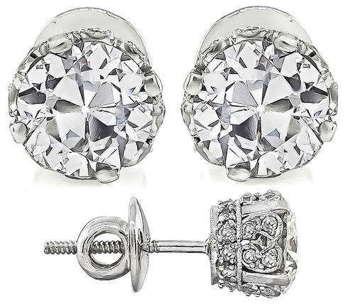 Estate 1 01ct And 0 99ct Diamond 18k White Gold Studs Earrings