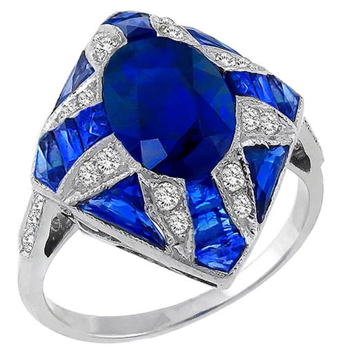 Antique Style Sapphire Diamond Gold Ring