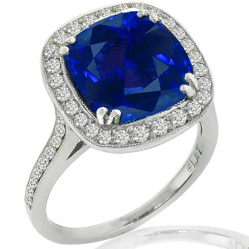 Estate Sapphire Diamond Platinum Ring