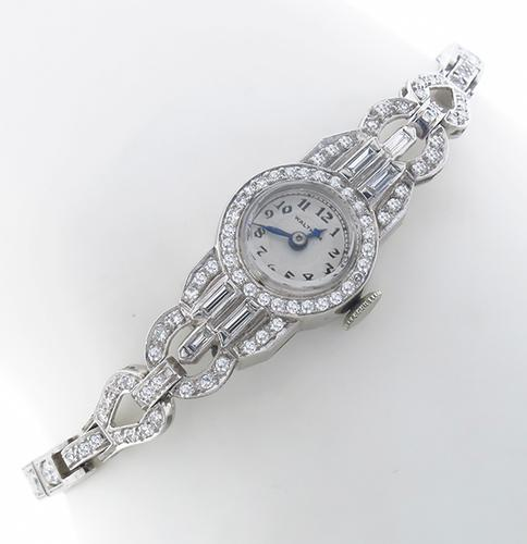 4.00ct Round Cut Diamond Platinum Watch By  Waltham