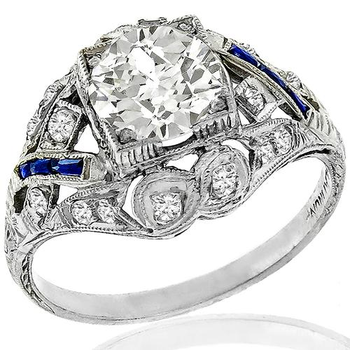 Art Deco 1.28ct Diamond Sapphire Engagement Ring