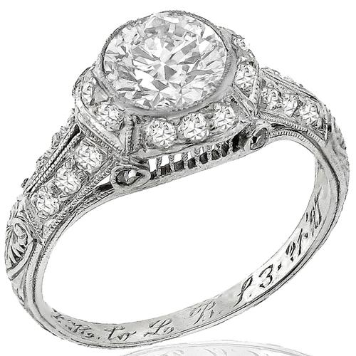 Art Deco GIA 0.89ct Diamond Engagement Ring