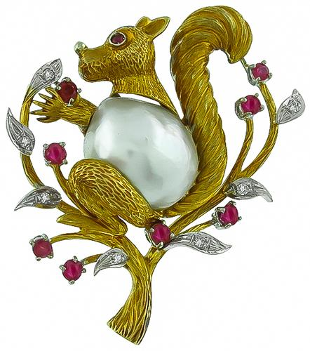 Round Cut Ruby and Diamond Baroque Pearl 18k Yellow and White Gold Squirrel Pin