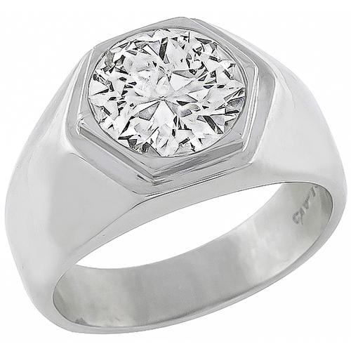 European Cut Diamond Platinum Cartier Engagement Ring