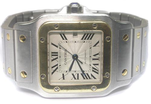 Santos Galbee  Stainless Steel 18k Yellow Gold Men's Watch By Cartier