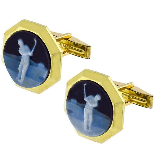 Carved Onyx Golfer Cameo Gold Cufflinks