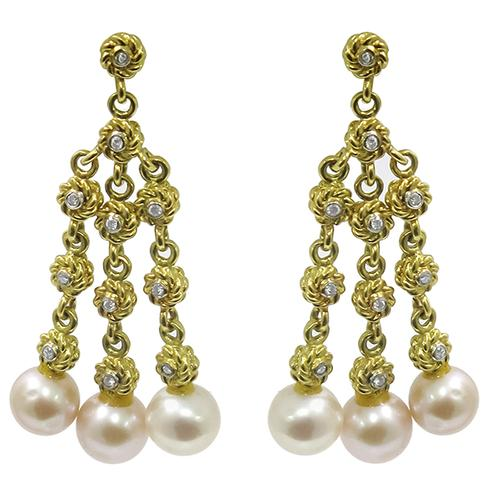 Buy cassis 068ct diamond pearl gold chandelier earrings new york cassis 068ct round cut diamond pearl gold chandelier earrings aloadofball Image collections