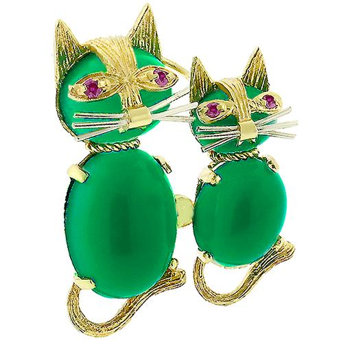 Estate Cabochon Round & Oval Chrysoprase Round Cut  Ruby 14k Yellow Gold Cat Pin