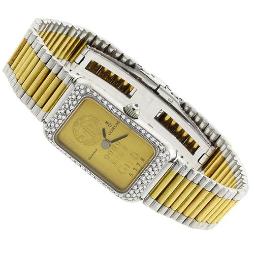 Estate Corum 5 Gram 18k Yellow Gold Bar 0.50ct Diamond Watch