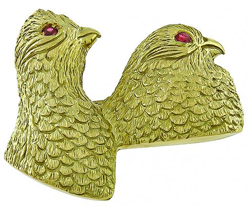 18k Yellow Quail Pin by Crossroad and Sport