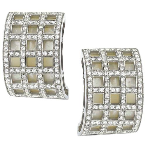 3.00ct Diamond Mother of Pearl Gold Earrings By David Morris