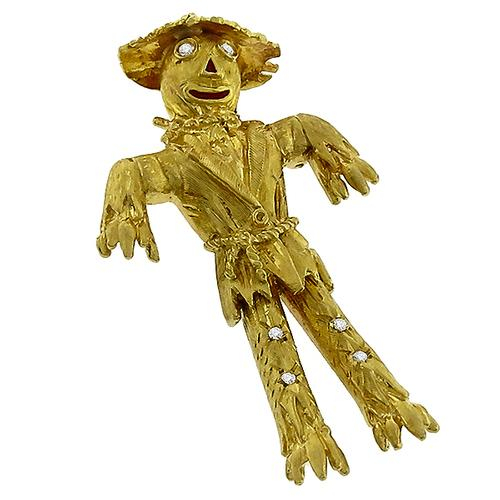 Estate Round Cut Diamond 18k Yellow Gold Scarecrow Pin
