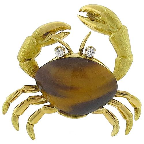 Estate Round Cut  Diamond Tiger Eye  18k Yellow Gold  Crab Pin