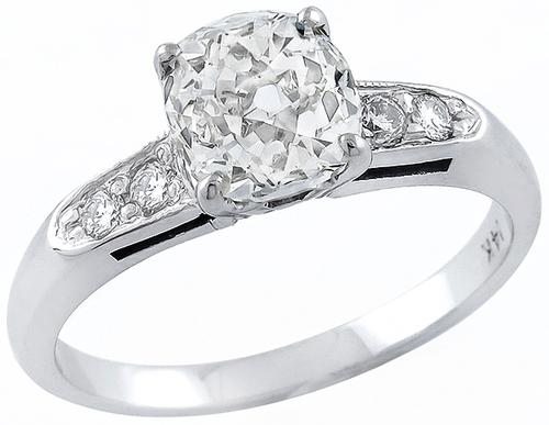 Old Mine Cut Diamond 14k White Gold Engagement Ring