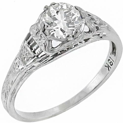 Antique  0.56ct Old Mine Cut Diamond 18k White Gold Engagement Ring