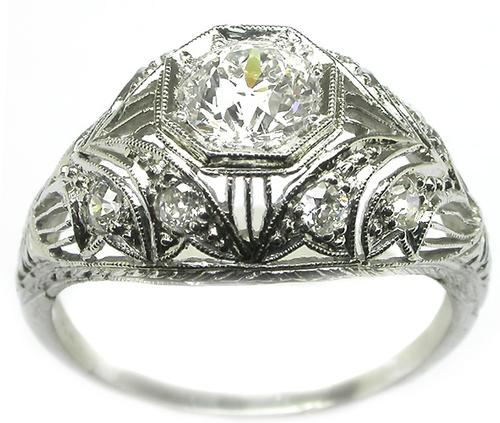 Antique GIA Certified 0.75ct Diamond Engagement Ring