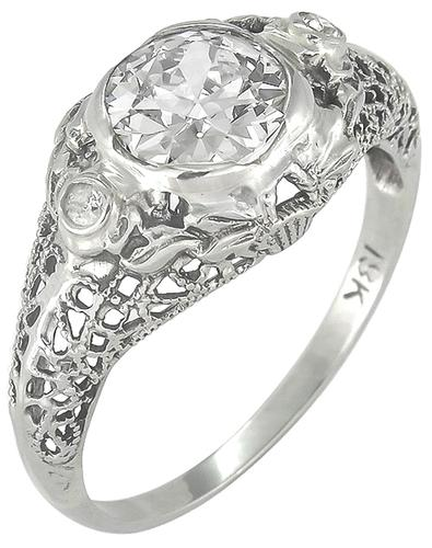 Antique 0.88ct Old European Cut Diamond 18k White Gold Engagement Ring