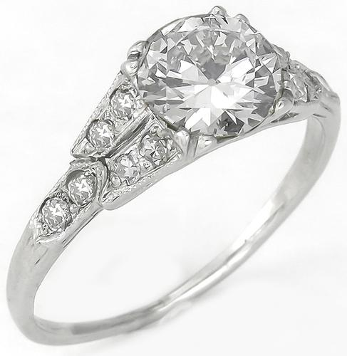 Edwardian 1.01ct Old European Cut Diamond 0.40ct Round Cut Diamond 18k White Gold Engaement Ring
