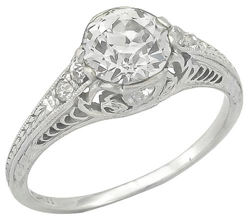 Vintage 1.04ct Old European Diamond Platinum Engagement Ring