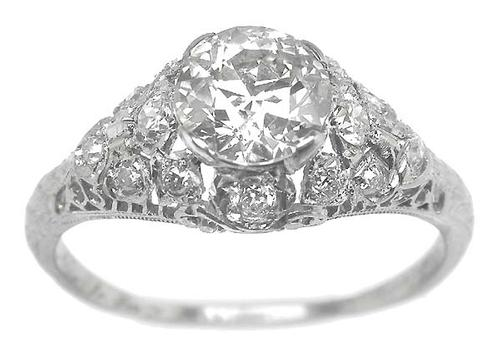 Antique 1.08ct  Old European  Cut  Diamond Platinum Engagement Ring