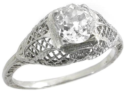 Antique 1.15ct Diamond 18k White Gold Engagement Ring