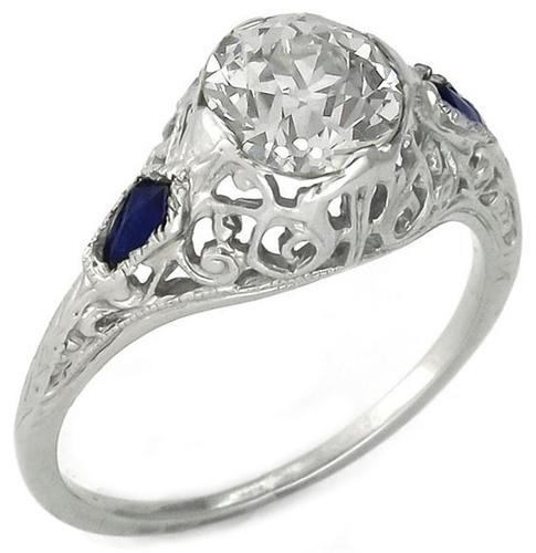 Edwardian 1.18ct Old European Cut Diamond Sapphire 14k White Gold Engagement Ring