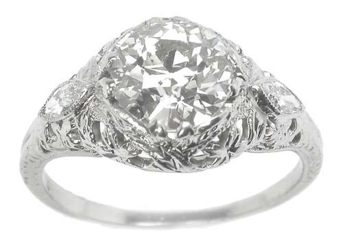 Antique 1.37ct Old Mine Diamond 18k White Gold Engagement Ring