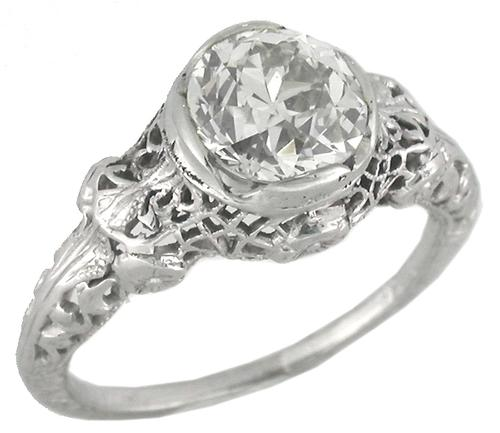 Antique 1.49ct Old Mine Cut Diamond 18k White Gold Engagement Ring