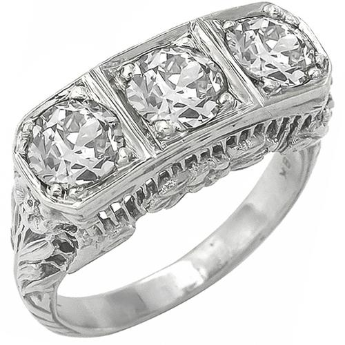 Antique 1.70ct Old Mine Cut Diamond 18k White Gold Anniversary Ring