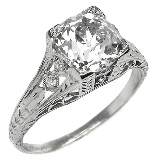 Antique Platinum Engagement Ring GIA Certified