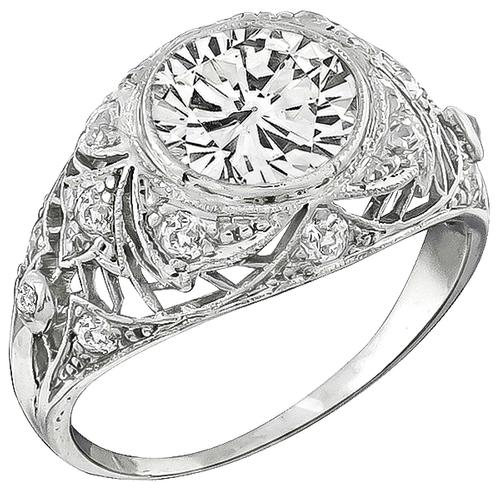 GIA Certified Antique 2.20ct Diamond Platinum Engagement Ring