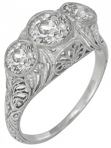 Antique 1.52ct Old Mine Cut Center Diamond 1.30ct Old Mine Cut Diamond Platinum Anniversry Ring