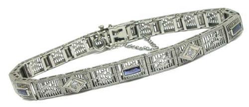 Edwardian Diamond & Synthetic Sapphire Platinum and 14k