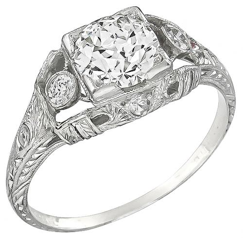 Antique 1.00ct Old European Cut Diamond 0.20ct Old Mine Diamond  Platinum Engagement Ring