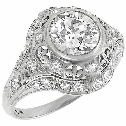 Antique 1.66 Old European Cut Diamond Platinum Engagement Ring