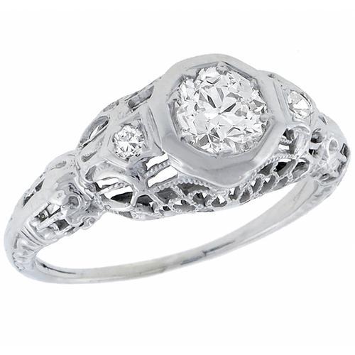 Antique GIA Certified 0.56ct Round  Brilliant Diamond 14k White Gold Engagement Ring