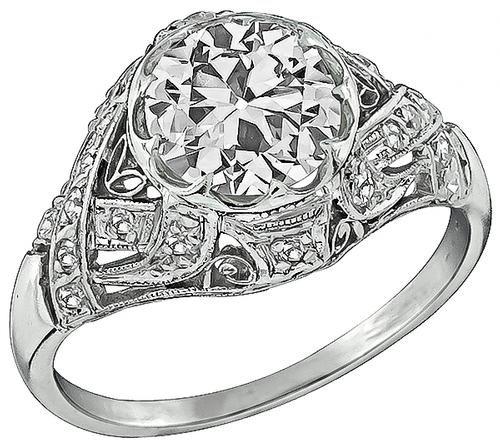 Antique GIA Certified 1.92ct Diamond Platinum Engagement Ring