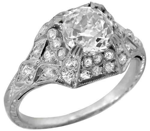 Antique  1.21ct Old Mine Cut Diamond Platinum Engagement Ring