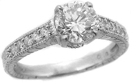Edwardian Style Diamond Engagement Ring GIA Certified