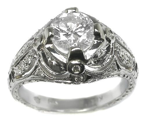 Buy Edwardian Style 1 32ct Diamond 14k White Gold Engagement Ring