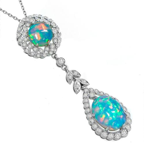 Opal Diamond Gold Pendant