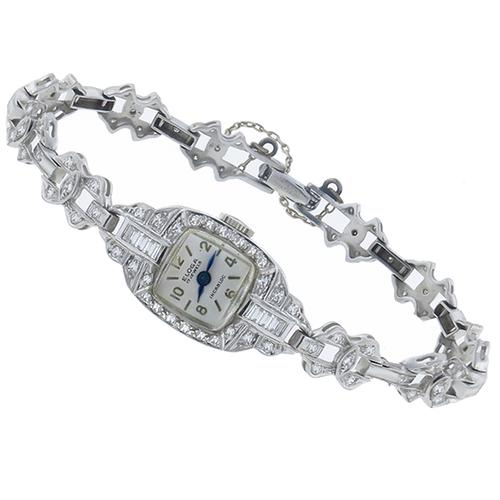 Antique   17 Jewels Incabloc  Eloga  2.14ct European and Baguette Cut Diamond Watch