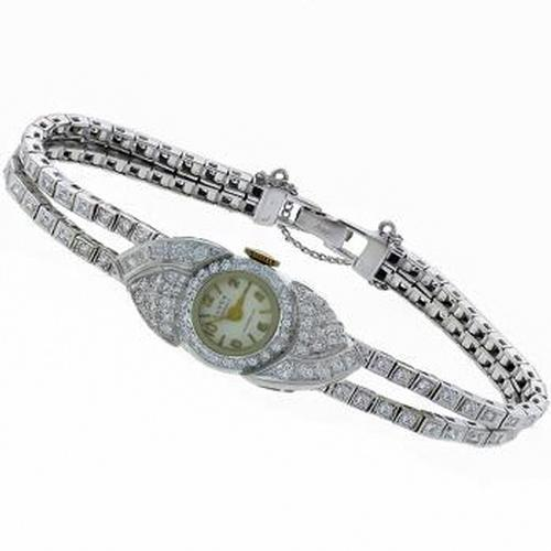 Eloga 17 Jewels Incabloc 4.00ct Round  Diamond 14k White Gold Watch