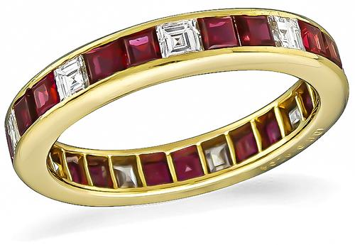 Square Cut Diamond and Ruby 18k Gold Eternity Wedding Band