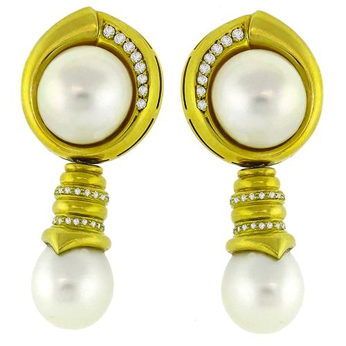 Diamond, Mabe & South Sea Pearl Earrings